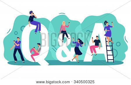 Questions And Answers. Q A With People, Persons With Smartphones Ask Question And Find Answer Vector