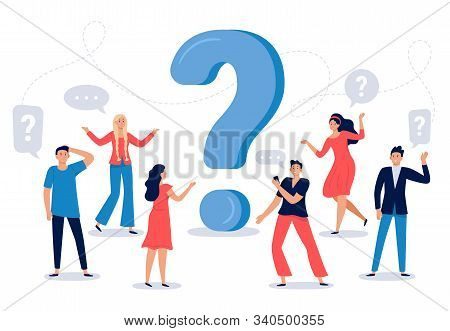People Ask Question. Confused Person Asking Questions, Crowd Finding Answers And Question Sign Vecto