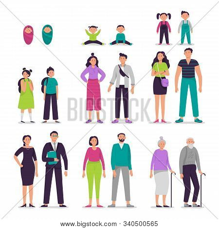 Different Ages People Couples. Man And Woman Characters Couple, Seniors Persons, Boy And Girl Kids V
