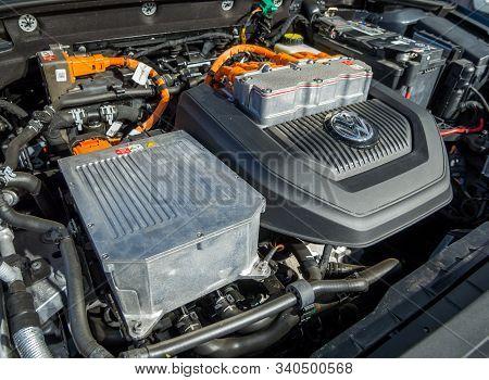 Voronezh, Russia - July 02, 2019: Volkswagen Engine Compartment E-golf