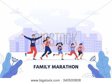 Family Marathon. Happy Parents Run Together With Kids. Healthy Lifestyle, Jogging People Vector Illu