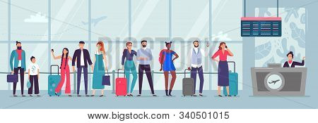 Queue To Airport Check-in. Travelers Waiting In Line, People Wait For Plane And Person Checking In A