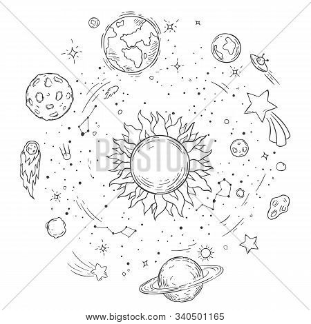 Doodle Solar System. Hand Drawn Sun, Cosmic Comet And Planet Earth Vector Illustration. Outer Space