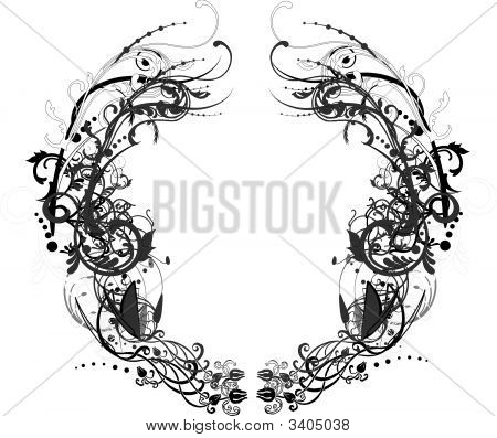 Arabesque Black And White Round Frame