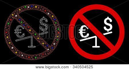 Glowing Mesh No Forex Market Icon With Glare Effect. Abstract Illuminated Model Of No Forex Market.