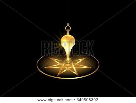 Dowsing Pendulum For Using Asking Questions. Esoteric Gold Pendulum Magic For Divination And Astrolo