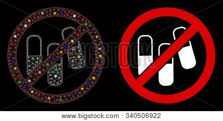 Glowing Mesh No Medical Granules Icon With Sparkle Effect. Abstract Illuminated Model Of No Medical