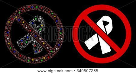 Bright Mesh No Mourning Ribbon Icon With Glow Effect. Abstract Illuminated Model Of No Mourning Ribb