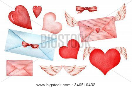 Set Of Cute Decorative Elements. Illustrations For Valentines Day. Envelopes, Bows, Hearts, Angel Wi