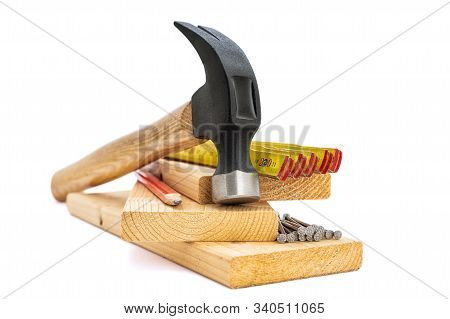 Tools And Work Equipment For Carpenter. Carpentry.