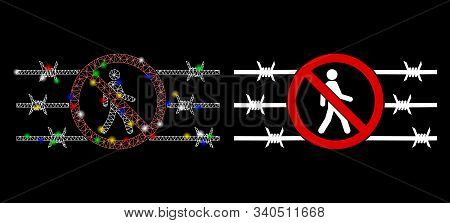 Glossy Mesh No Trespassing Fence Icon With Glow Effect. Abstract Illuminated Model Of No Trespassing