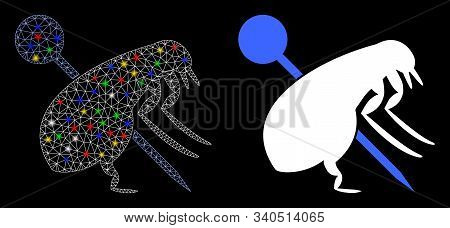 Glowing Mesh Pinned Flea Icon With Glow Effect. Abstract Illuminated Model Of Pinned Flea. Shiny Wir