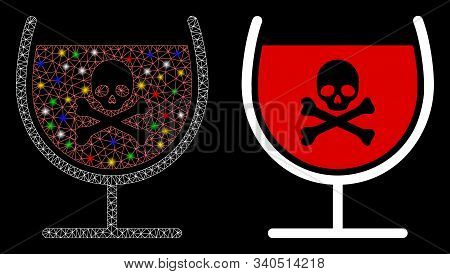 Glossy Mesh Poison Drink Glass Icon With Sparkle Effect. Abstract Illuminated Model Of Poison Drink