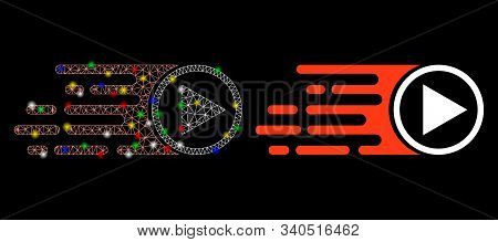 Glossy Mesh Rush Play Symbol Icon With Lightspot Effect. Abstract Illuminated Model Of Rush Play Sym