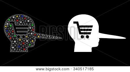 Flare Mesh Shopping Scammer Icon With Glow Effect. Abstract Illuminated Model Of Shopping Scammer. S