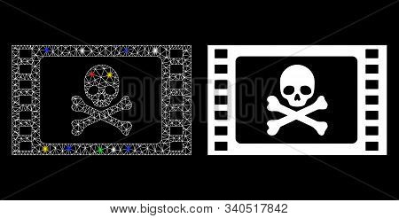 Glossy Mesh Stolen Movie Icon With Glare Effect. Abstract Illuminated Model Of Stolen Movie. Shiny W