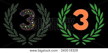 Flare Mesh Third Laurel Wreath Icon With Sparkle Effect. Abstract Illuminated Model Of Third Laurel