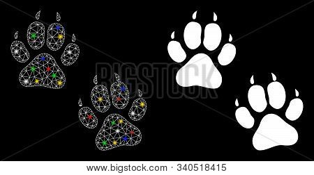 Flare Mesh Tiger Footprints Icon With Lightspot Effect. Abstract Illuminated Model Of Tiger Footprin