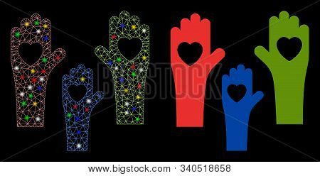 Glowing Mesh Tolerance Hands Icon With Sparkle Effect. Abstract Illuminated Model Of Tolerance Hands