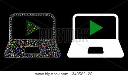 Flare Mesh Webcast Laptop Icon With Glow Effect. Abstract Illuminated Model Of Webcast Laptop. Shiny