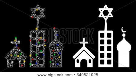 Glossy Mesh Zion City Icon With Sparkle Effect. Abstract Illuminated Model Of Zion City. Shiny Wire