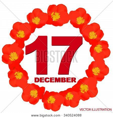 December 17 Icon. For Planning Important Day. Banner For Holidays And Special Days With Flowers. Dec