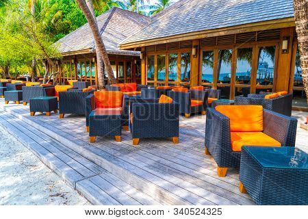 Outdoors Beach Restaurant. Tropical Resort Coast, Relaxing Summer Shore. Luxury Resort Restaurant, C