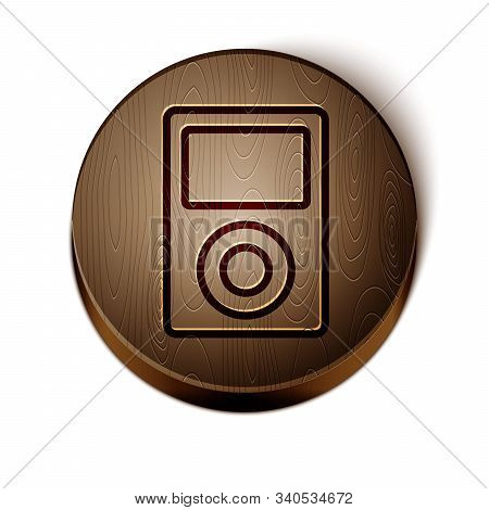 Brown Line Music Player Icon Isolated On White Background. Portable Music Device. Wooden Circle Butt
