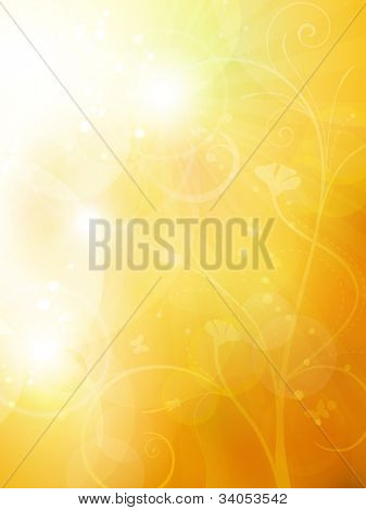 Blurry background in shades of warm golden orange and brown shades with overlying semitransparent circles, light effects and sun burst. Great as summer or autumn background. Space for your text.