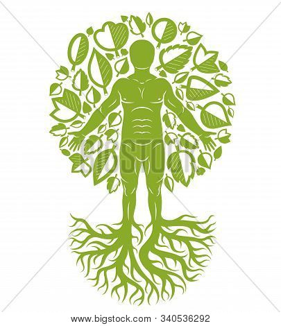 Vector Illustration Of Human Being Created As Continuation Of Tree With Strong Roots And Made Using