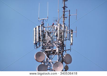 Telecommunication Network Repeaters, Base Transceiver Station. Tower Wireless Communication Antenna