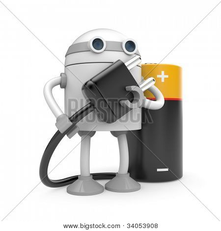 Robot with plug and battery. Image contain clipping path