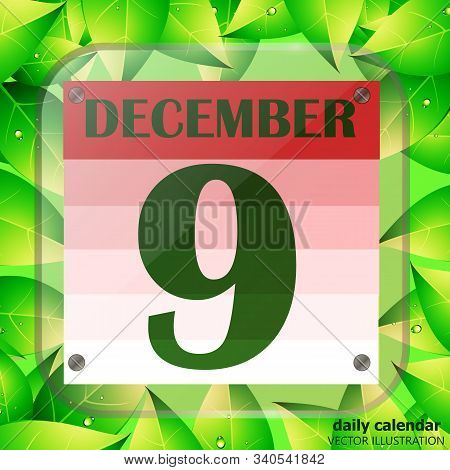 December 9 Icon. Calendar Date For Planning Important Day With Green Leaves. December Ninth. Banner