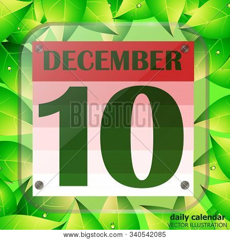December 10 Icon. Calendar Date For Planning Important Day With Green Leaves. Tenth Of December. Ban