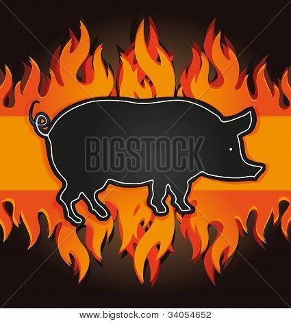 blackboard grill menu card pig fire board raster