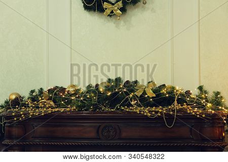 New Year. Christmas. Christmas Decorations In Interior Taken Closeup.
