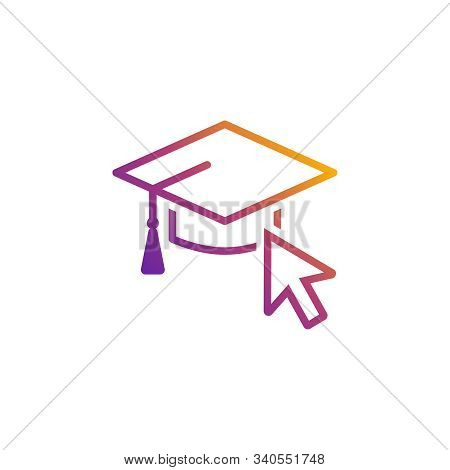 Vector Icon Of A Mortarboard In Bright Gradient Colors For Internet And Online Education, E-learning