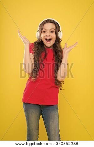 Catch The Rhythm. Little Girl Enjoying Her Favorite Music. Kid Listening Music Headphones. Music Bea