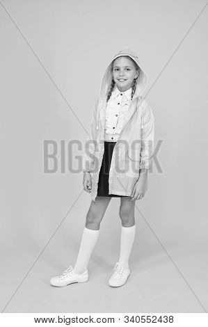 Its The Perfect Style For Your Little Schoolgirl. Happy Schoolgirl On Yellow Background. Small Schoo