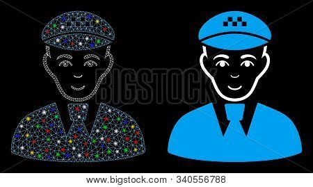 Flare Mesh Taxi Driver Icon With Glare Effect. Abstract Illuminated Model Of Taxi Driver. Shiny Wire