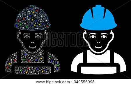 Glowing Mesh Glad Worker Icon With Lightspot Effect. Abstract Illuminated Model Of Glad Worker. Shin