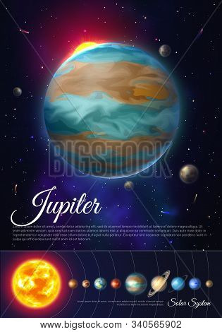 Jupiter Planet Colorful Poster With Solar System. Galaxy Discovery And Exploration. Realistic Planet