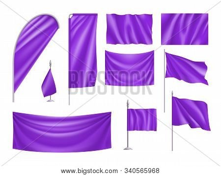 Violet Rectangular Flags Set Isolated On White Background. Realistic Wavy Flag On Pole, Expo Banner,