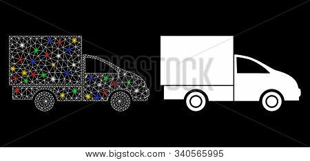 Glossy Mesh Lorry Icon With Sparkle Effect. Abstract Illuminated Model Of Lorry. Shiny Wire Carcass