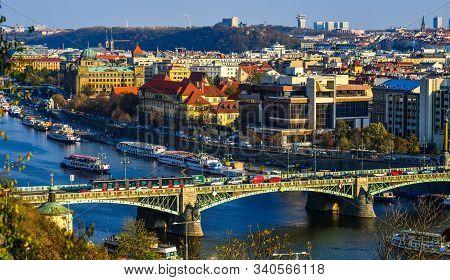 Aerial View Of Praha (prague) Cityscape