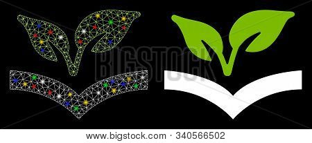 Glossy Mesh Flora Knowledge Icon With Sparkle Effect. Abstract Illuminated Model Of Flora Knowledge.