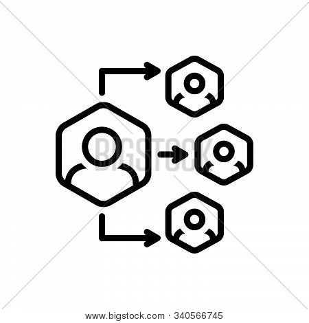 Black Line Icon For Delegation Organization Authorize Delegation Authority Collaboration