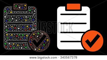 Glossy Mesh Apply Form Icon With Sparkle Effect. Abstract Illuminated Model Of Apply Form. Shiny Wir