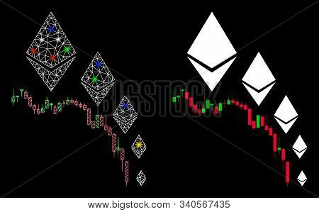 Glowing Mesh Ethereum Deflation Chart Icon With Sparkle Effect. Abstract Illuminated Model Of Ethere
