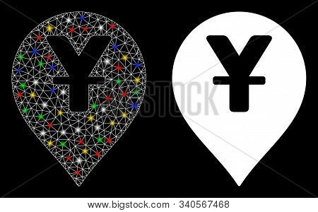 Glowing Mesh Yen Map Marker Icon With Glare Effect. Abstract Illuminated Model Of Yen Map Marker. Sh